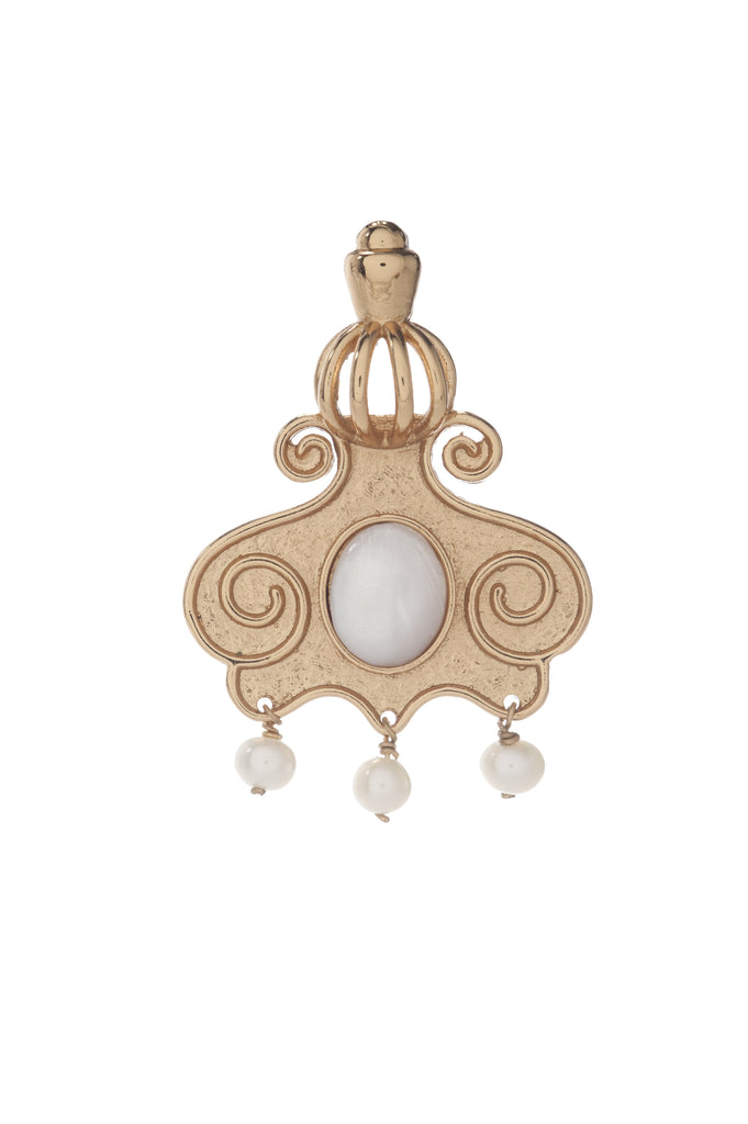 Cupola Earring In Mother of Pearl and Pearl Drops