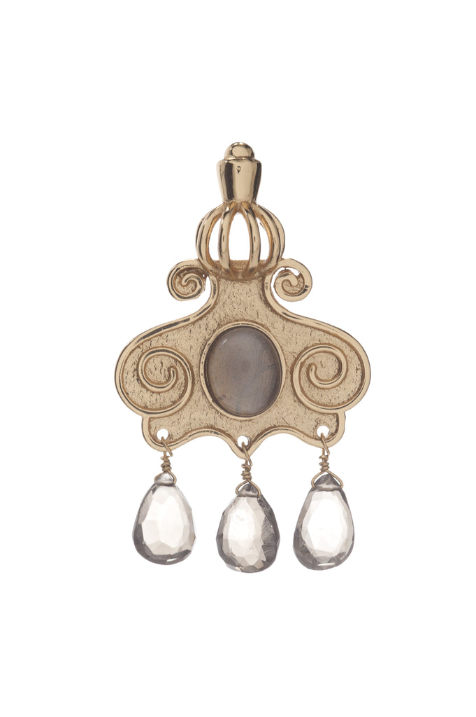 Cupola Earring In Smoky Topaz and Smoky Topaz Briolet
