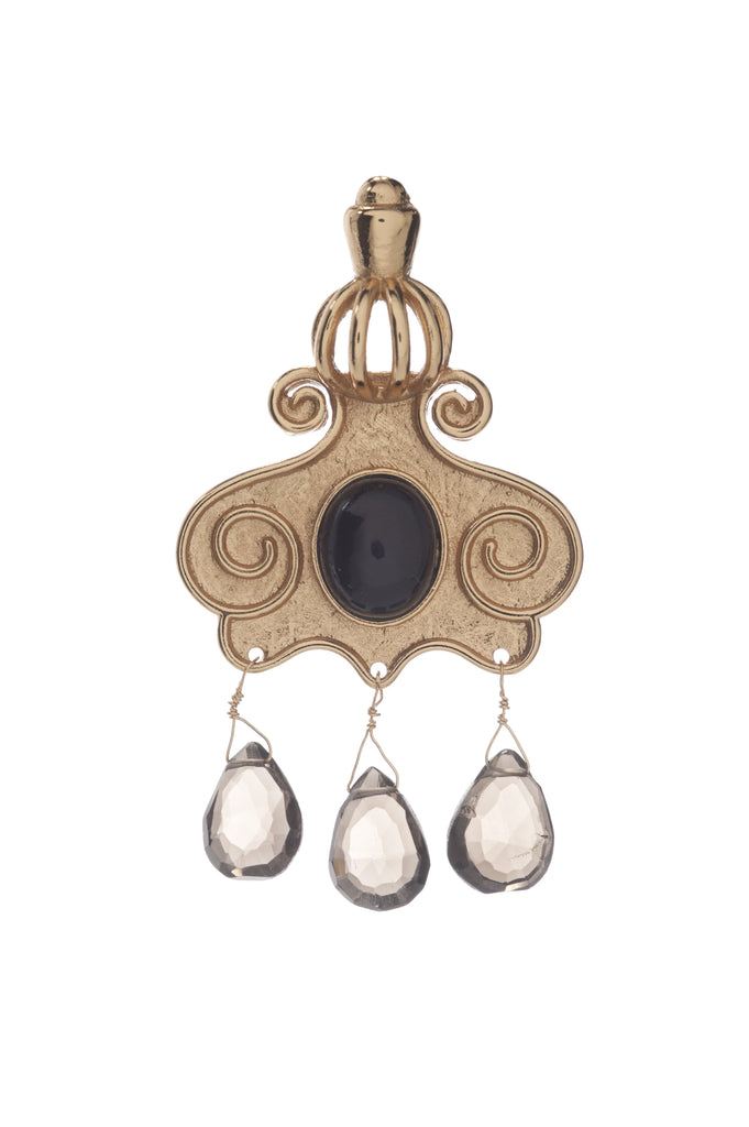 Cupola Earring In Black Onyx and Smoky Topaz Briolets