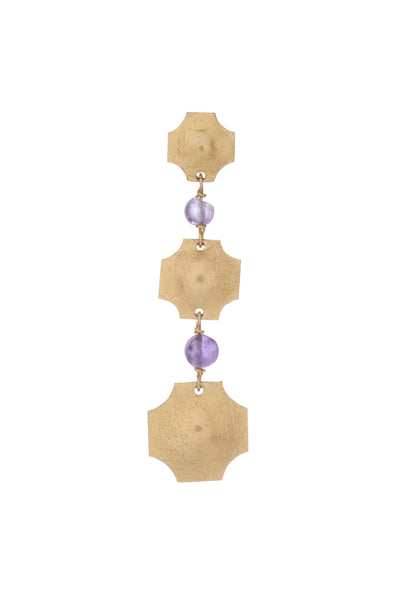 Russet Small Triple Earring In Light Amethyst