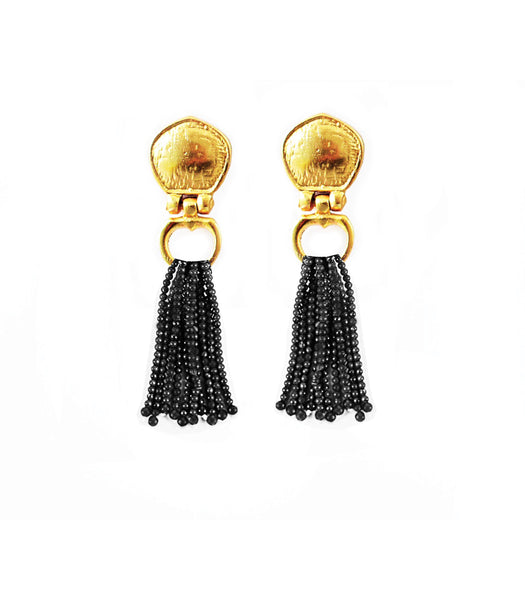 Cleo Bead Earring In Black Onyx