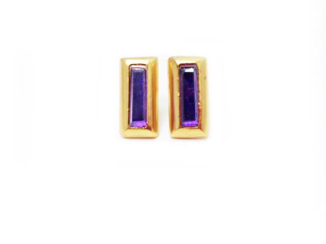 Crush Rectangle Earring In Dark Amethyst