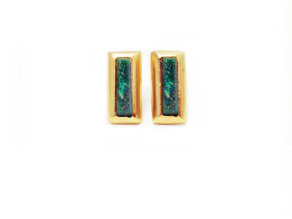 Crush Rectangle Earring In Green AventurIne