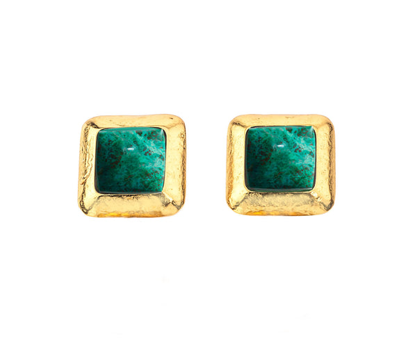 Crush Square Earring In Green AventurIne