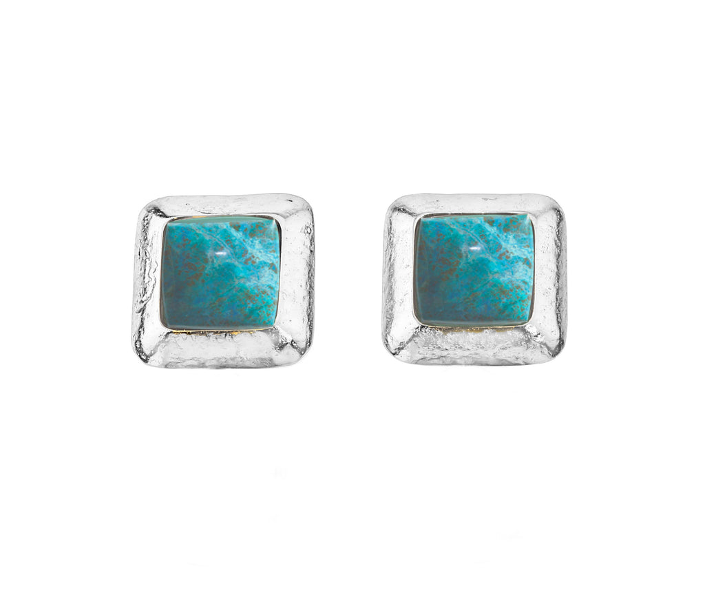 Crush Square Silver Earring In Turquoise