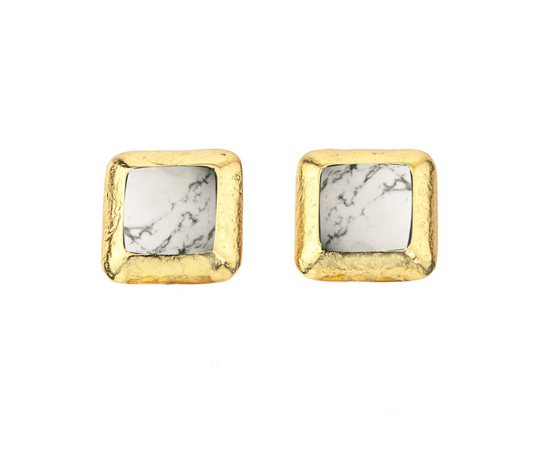 Crush Square Earring In Howlite