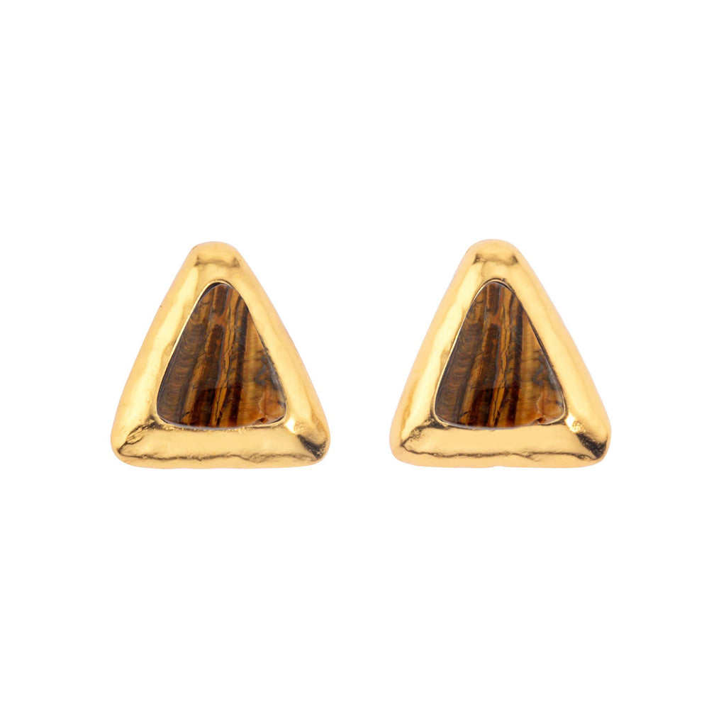 Crush Triangle Gold Earring In Tigers Eye