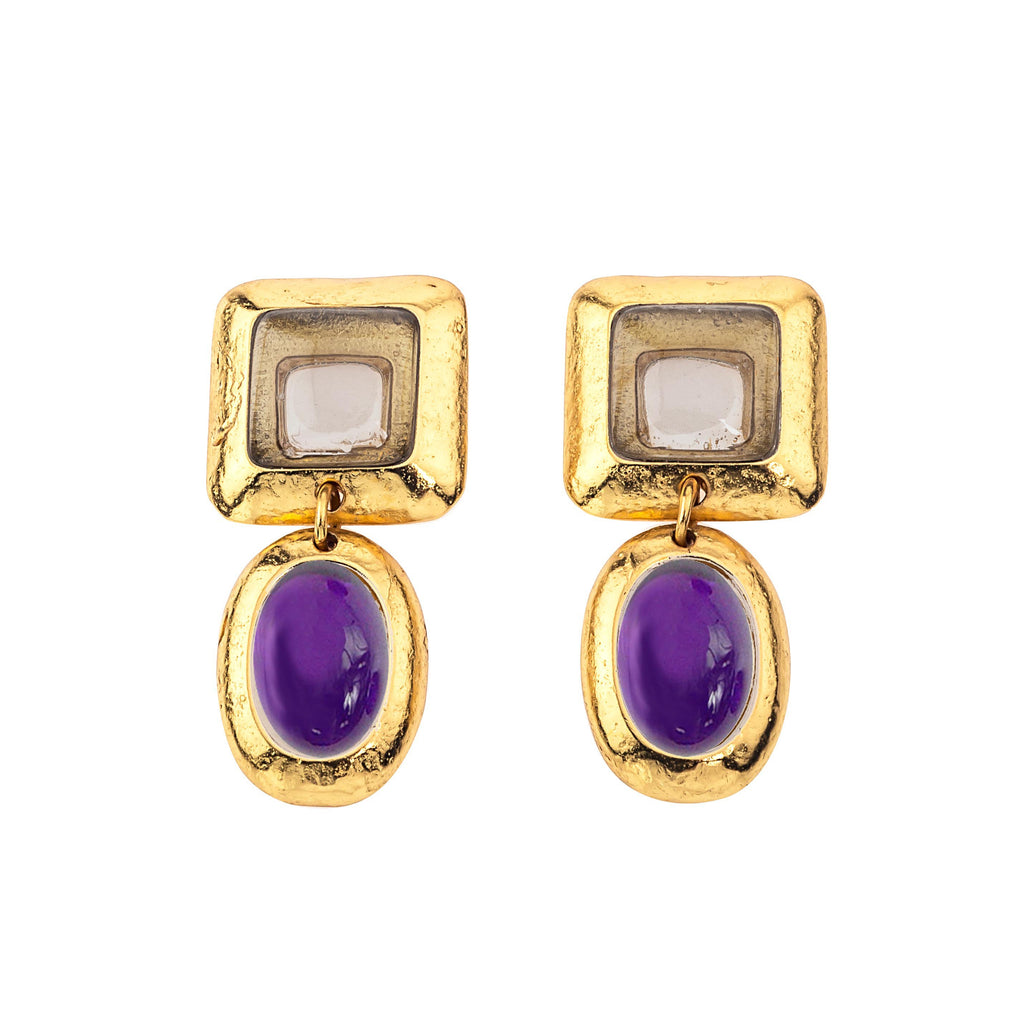 Crush Square Double Earring In Smoky Topaz Top and Natural Dark Amethyst Bottom