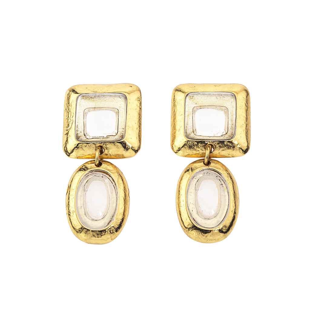 Crush Square Double Earring In White Quartz Top and White Quartz Bottom