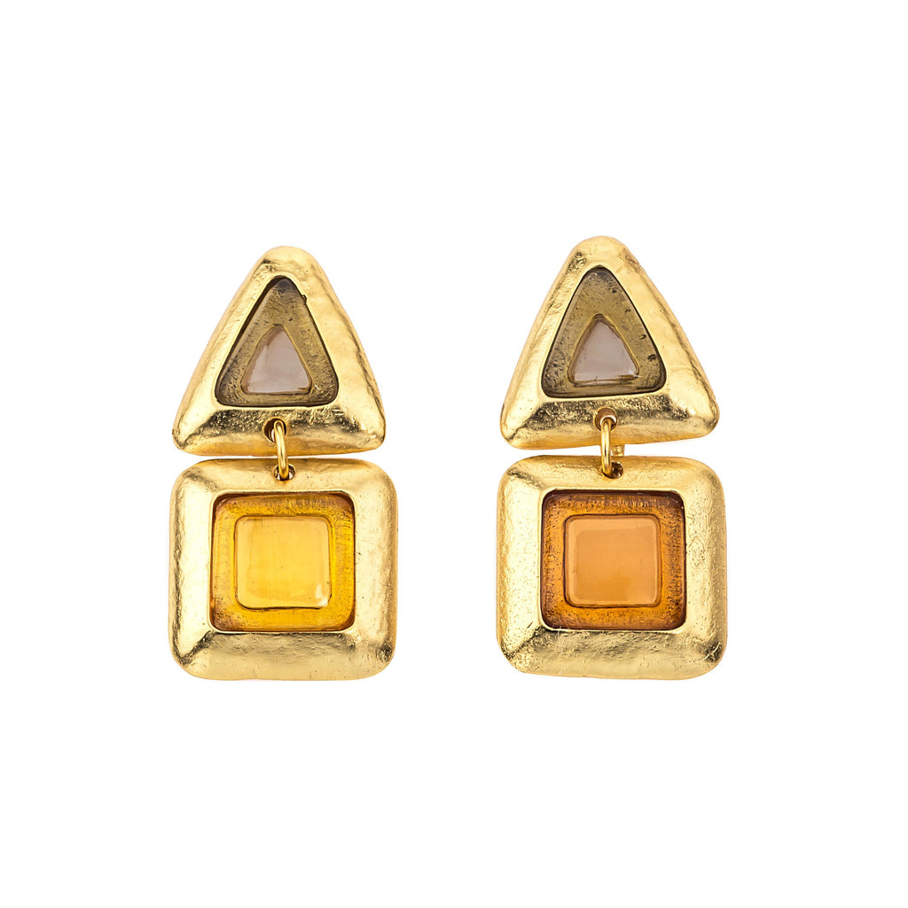 Crush Square Double Earring In Smoky Topaz Top and Yellow Citrine Bottom