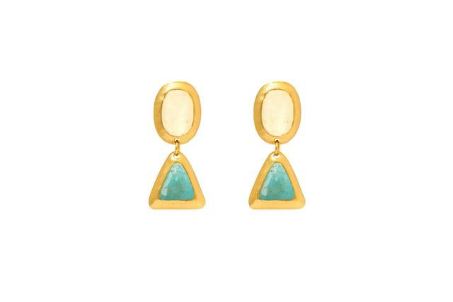 Crush Oval Double Earring In White Quartz Top and Blue Topaz Bottom