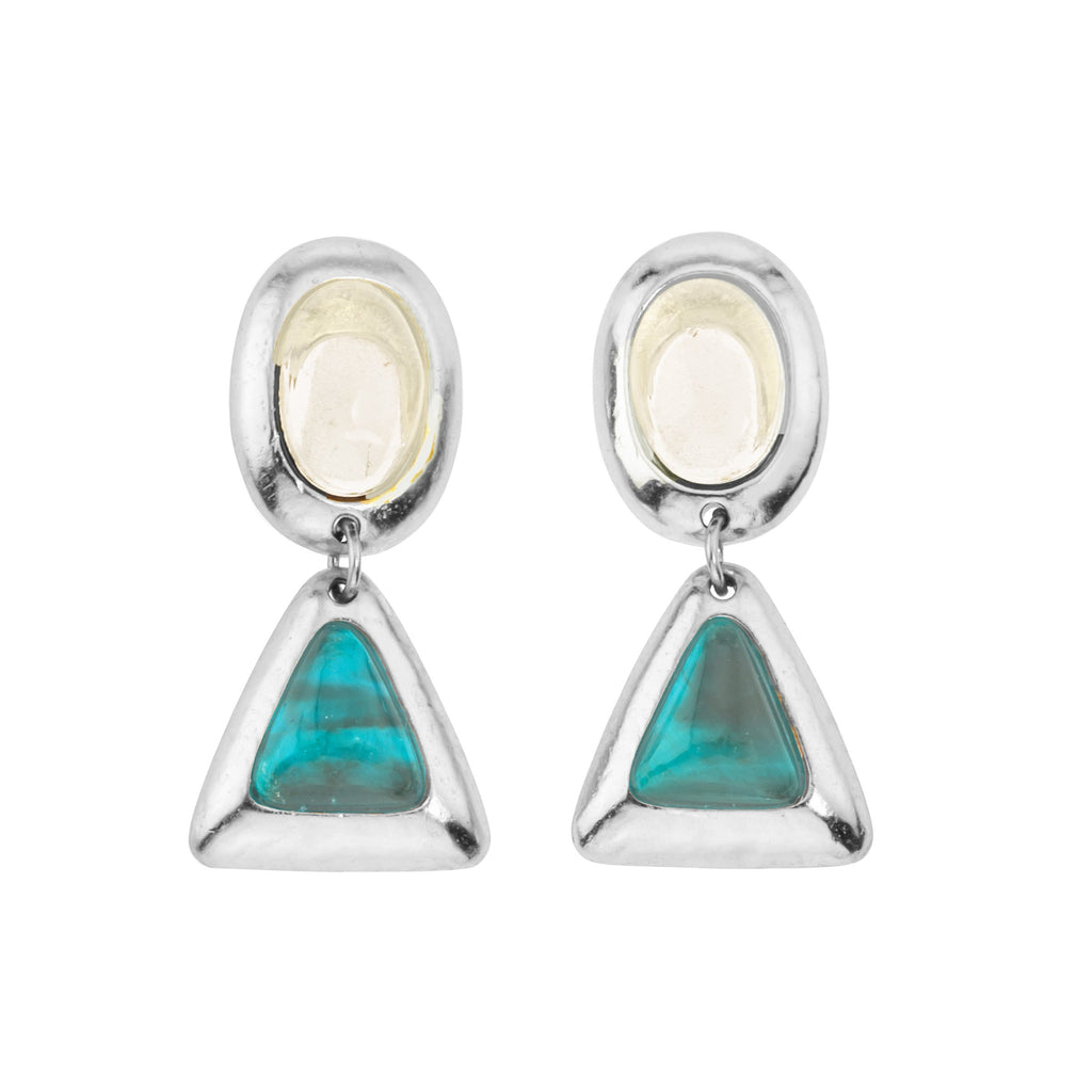 Crush Oval Double Silver Earring In White Quartz Top and Turquoise Bottom
