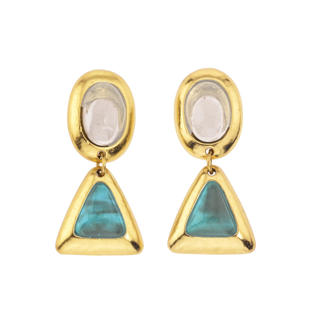 Crush Oval Double Earring In White Quartz Top and Turquoise Bottom