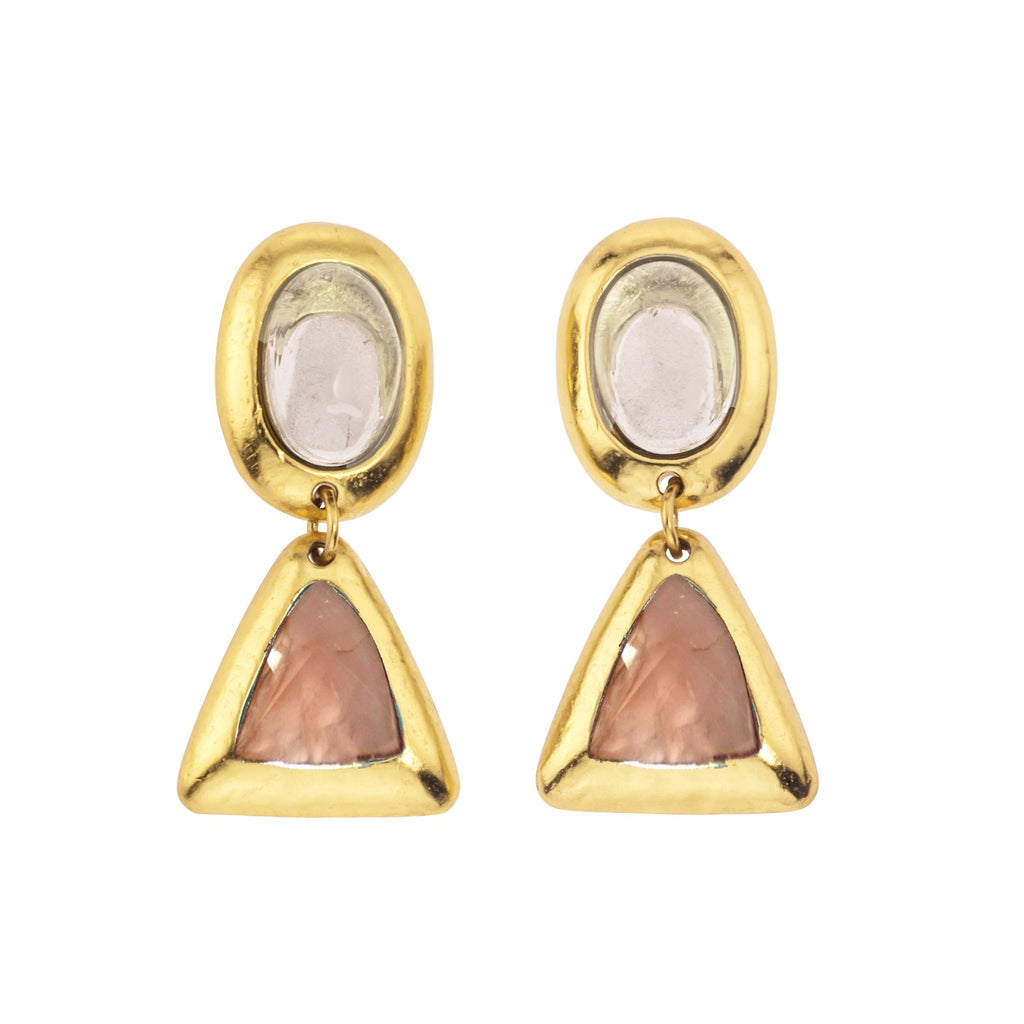 Crush Oval Double Earring In Gold, White Quartz C Top Oval and Rose Quartz C Bottom Triangle