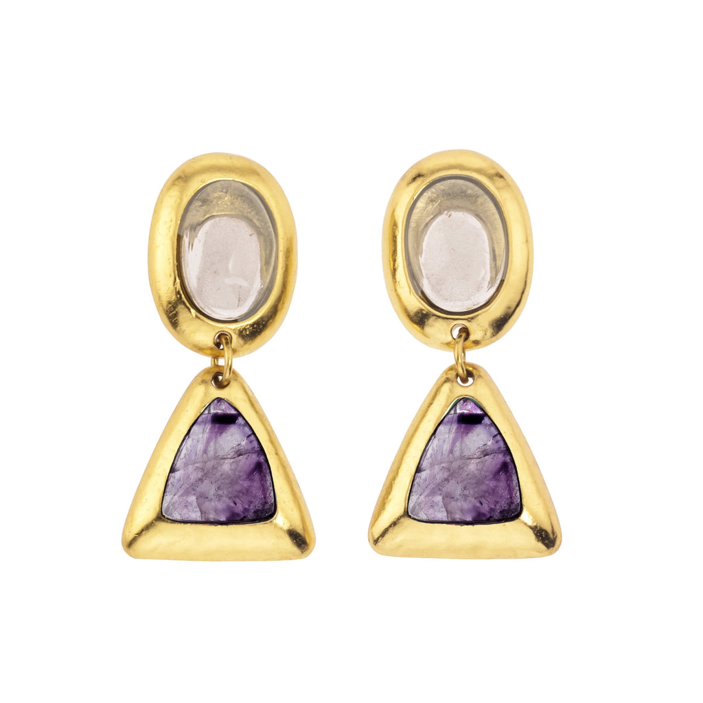 Crush Oval Double Earring In White Quartz Top and Light Amethyst Bottom
