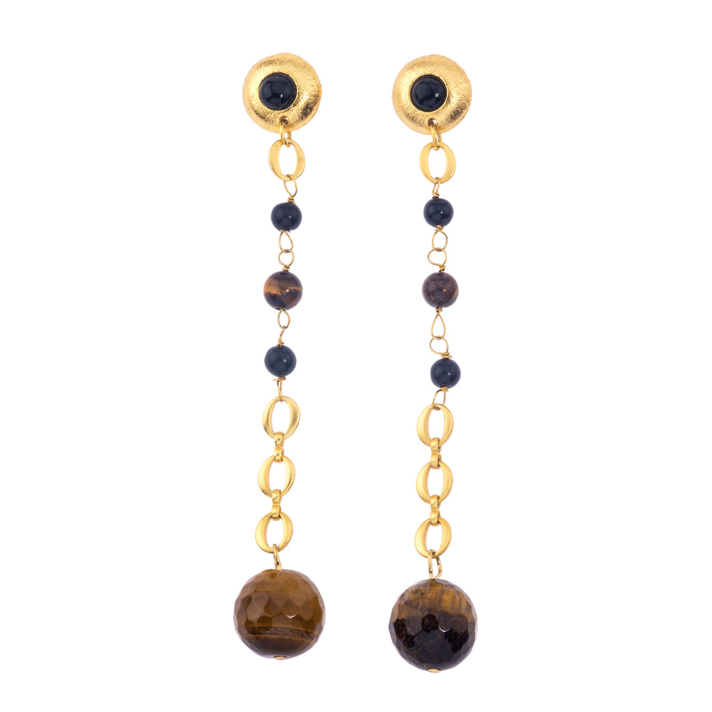 Galaxy Earring In Tigers Eye Sphere and Black Onyx (Pebble)