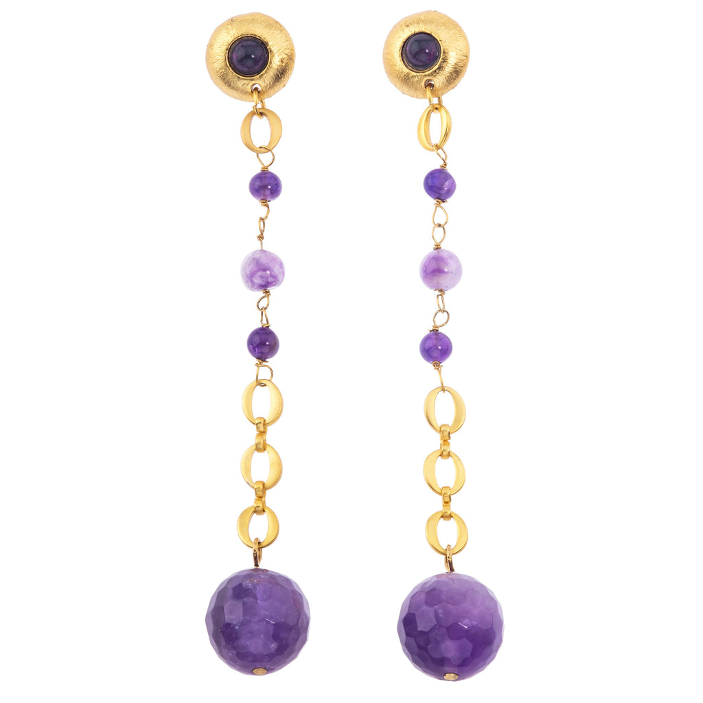 Galaxy Earring In Dark Amethyst Sphere and Dark Amethyst (Pebble)