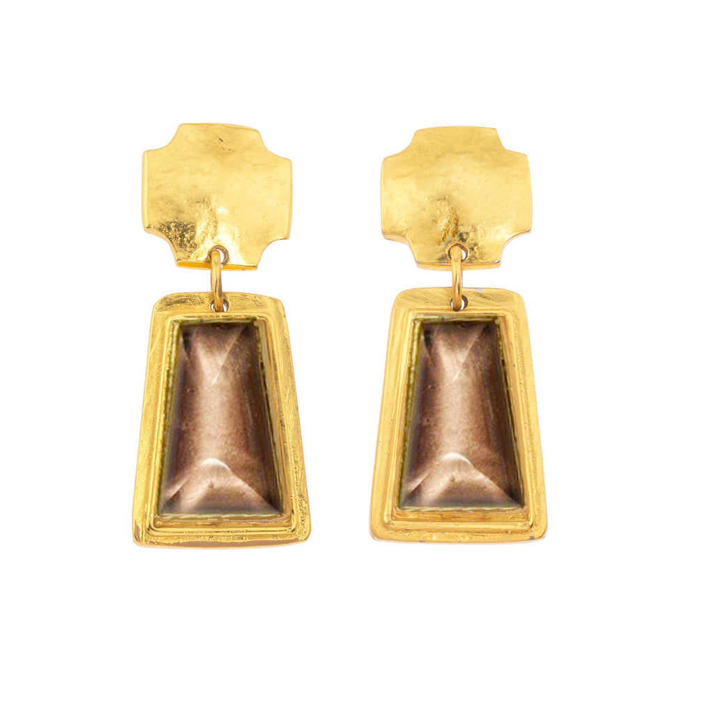 Russet Trap Earring In Smoky Topaz