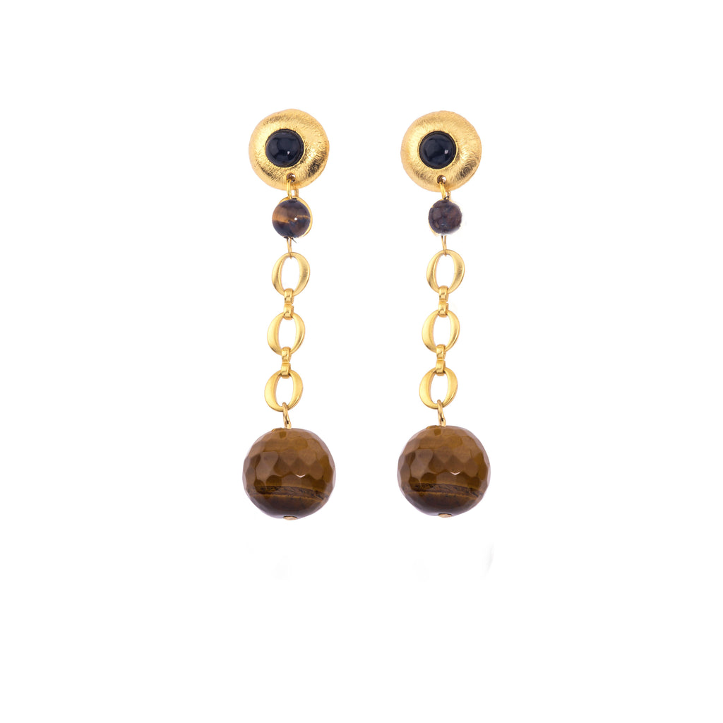 Galaxy Short Earring In Tigers Eye Sphere and Black Onyx (Pebble)