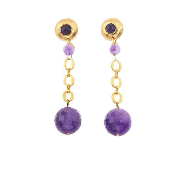 Galaxy Short Earring In Dark Amethyst Sphere and Dark Amethyst (Pebble)