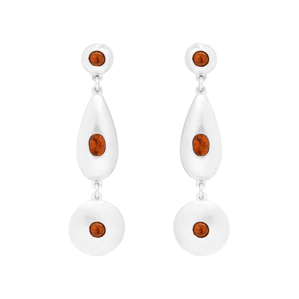 Pebble Triple Large  Silver Earring In Red Jasper
