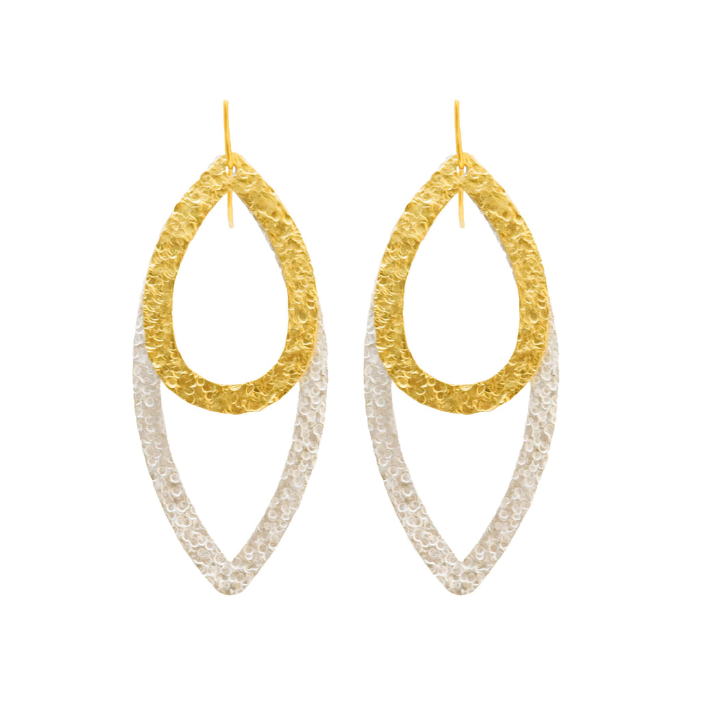 Paris Double Eye Small Drop Earring In Silver and Small Drop In Gold