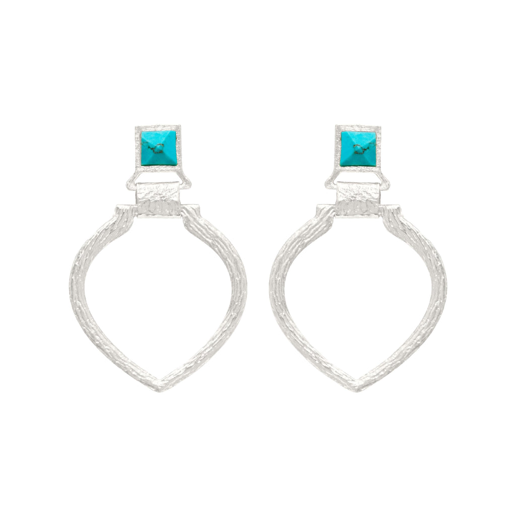 Tier Silver Earring In Turquoise Pyramid