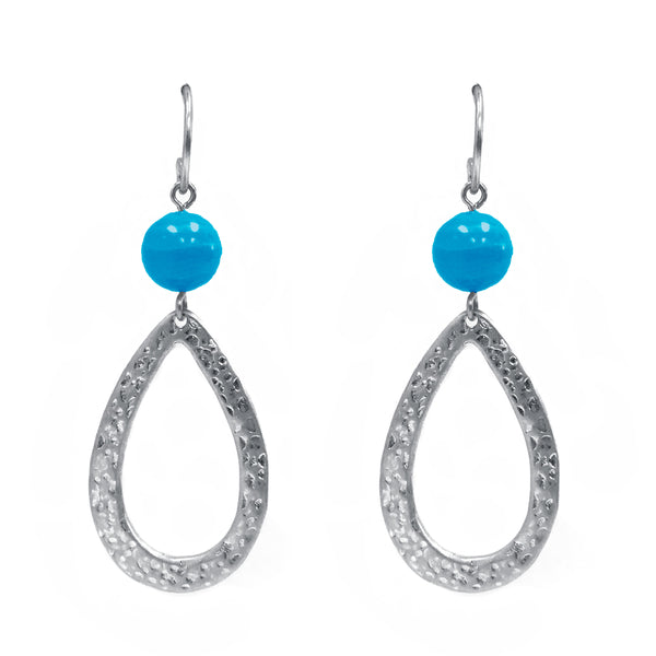Drop in Blue Turquoise Stone Earring