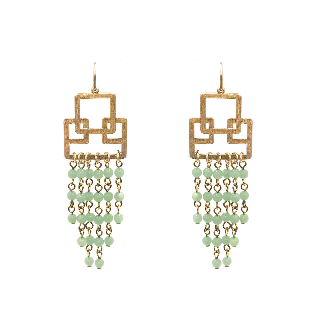 Jingle in Green Jade Stone Earring