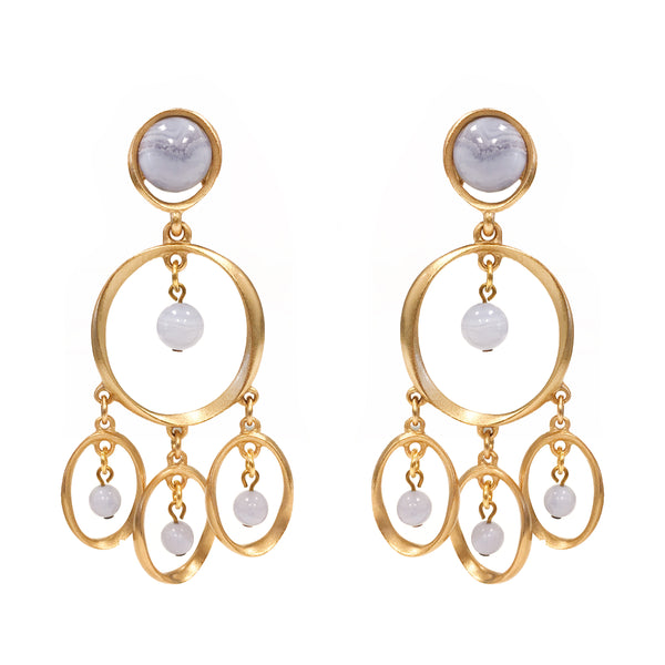 Chime Chandelier in Blue Chalcedony Stone Earring