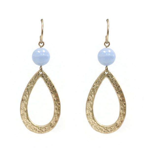 Drop Stone Earring in Blue Chalceondy