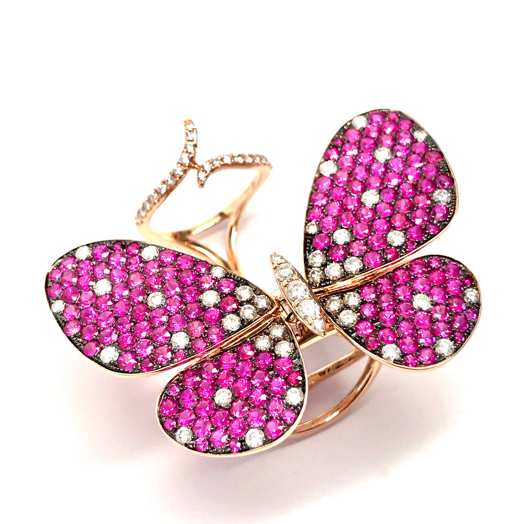 Celebration 18K Rose Gold Butterfly Ring - Ruby