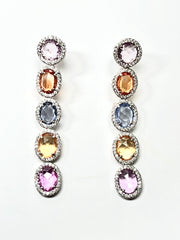 Rainbow Waterfall 18K White Gold Earring