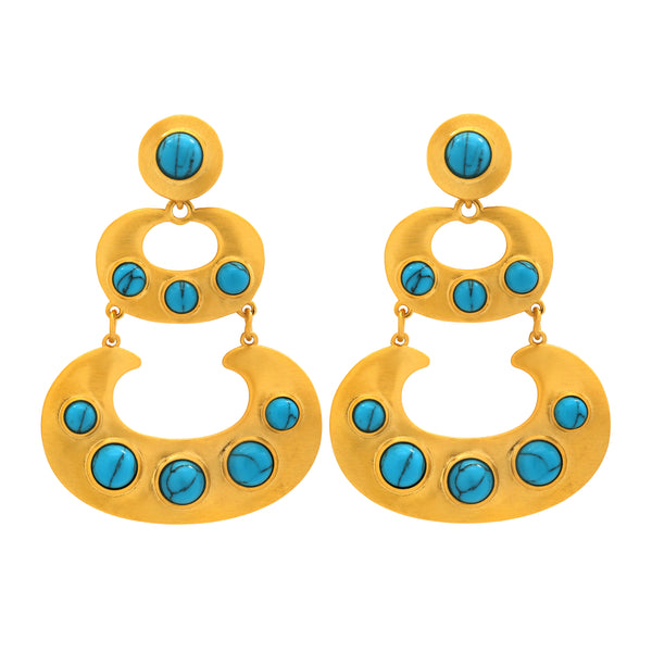Piccola Gold Earring in Turquoise Howlite