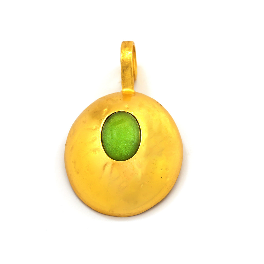 Pendant - Pebble - Cabochon Green Crystal