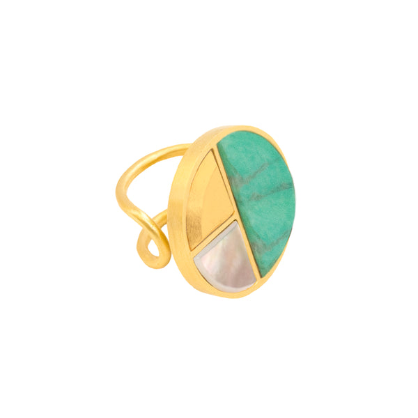 Peace RG Gold, Flat Smooth Green Turquoise Howlite, Flat Smooth Mother of Pearl, GMS