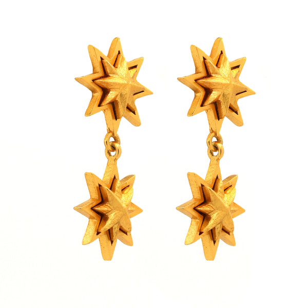 Sunburst Double Gold Earring