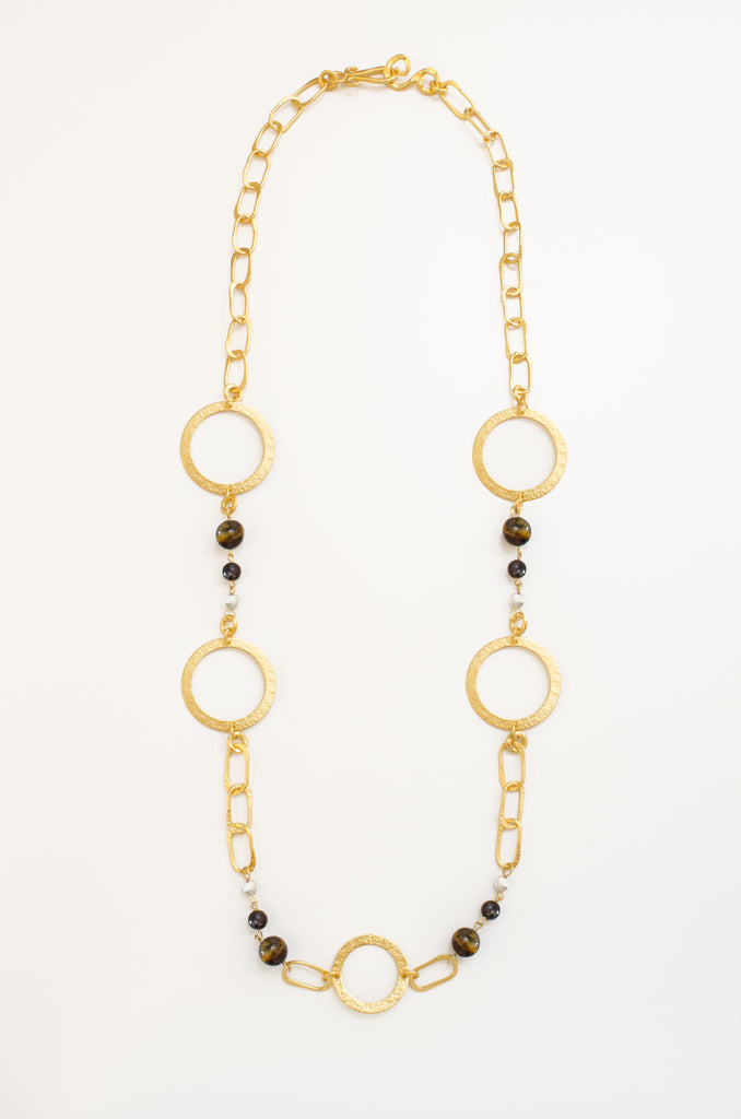 Love Necklace In Tigers Eye, Black Onyx and Mother of Pearl