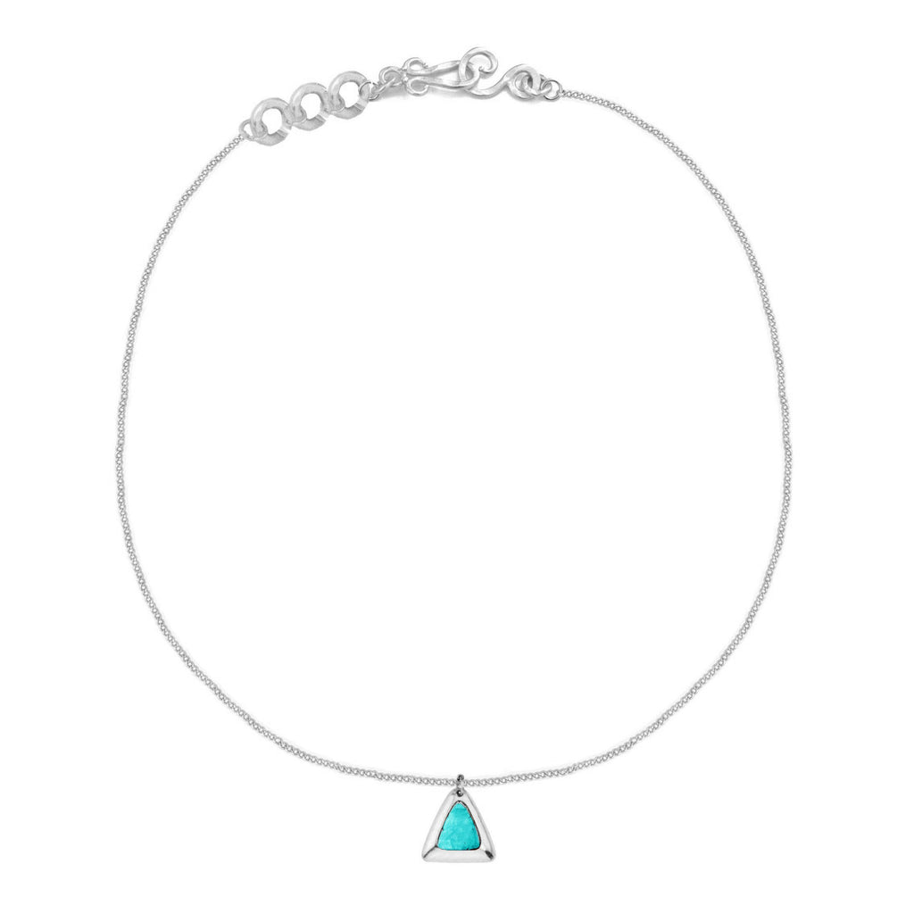 Crush Triangle Silver Necklace In Turquoise