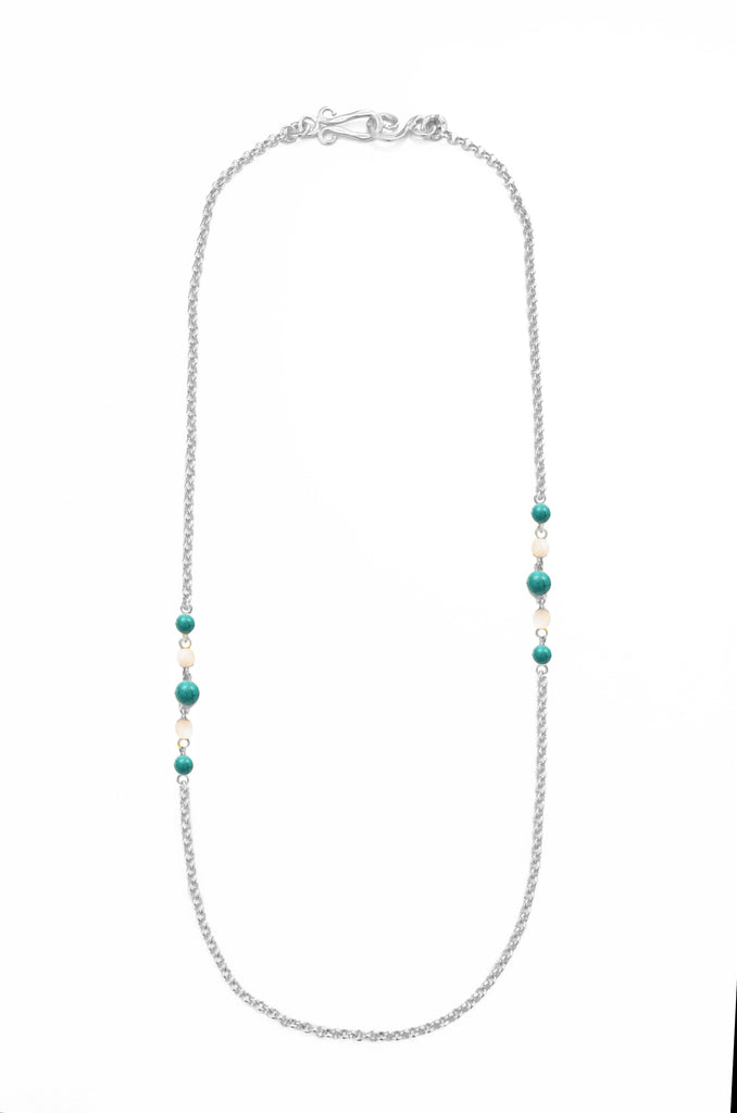 Diagonal Silver Necklace In Turquoise and White Quartz