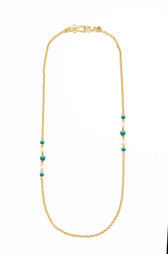 Diagonal Necklace In Turquoise and White Quartz