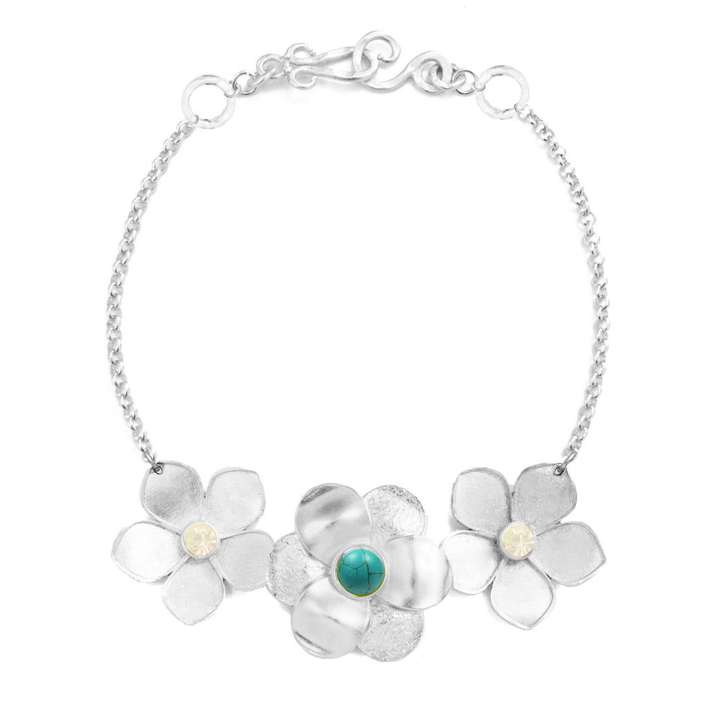 Garden Silver Necklace In Turquoise and White Quartz