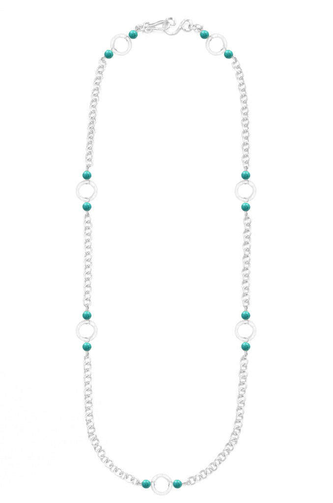 Infinity Silver Necklace In Turquoise