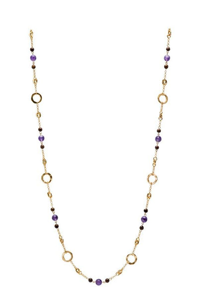 Infinite Necklace In Gold, Amethyst and Tigers Eye Center