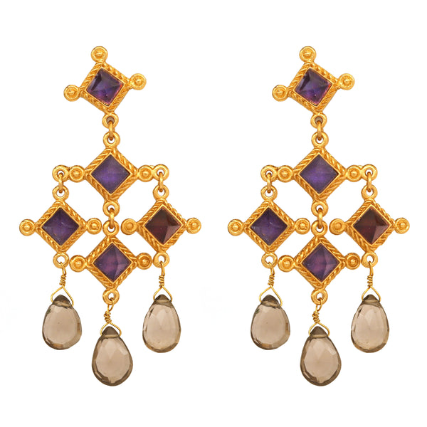 Earring - Venetian Chandelier - Faceted Dark Amethyst Square, Smoky Topaz Briolet