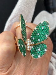 Celebration 18K Yellow Gold Butterfly Ring - White Diamonds & Emerald