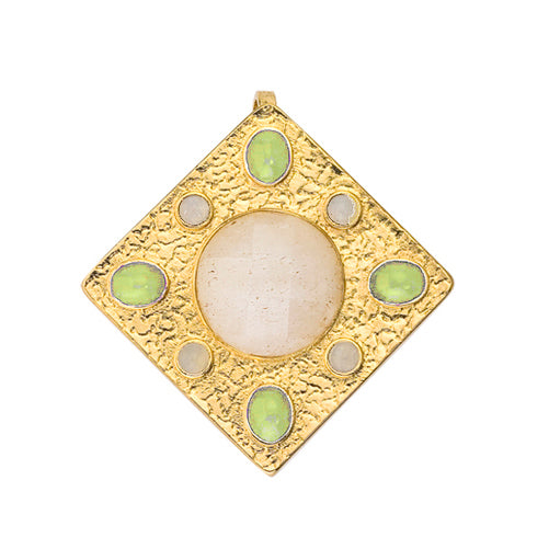 Pendant - Prussia - Faceted Stadium Cut White Quartz, Cabochon Peridot Oval, Cabochon Moonstone Round