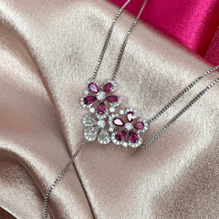 Flower Cluster 18K White Gold Necklace - Pink Tourmaline, White Diamonds