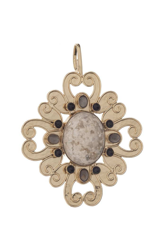 Scroll Flower Pendant In Tigers Eye Center, Tigers Eye Ovals and Mother of Pearls Rounds\