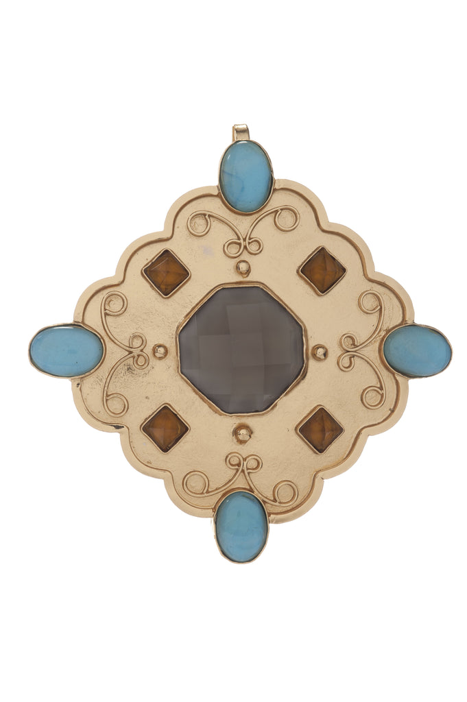 Aristocrat Pendant In Smoky Topaz Octagon Center, Blue Topaz Oval and Citrine Squares
